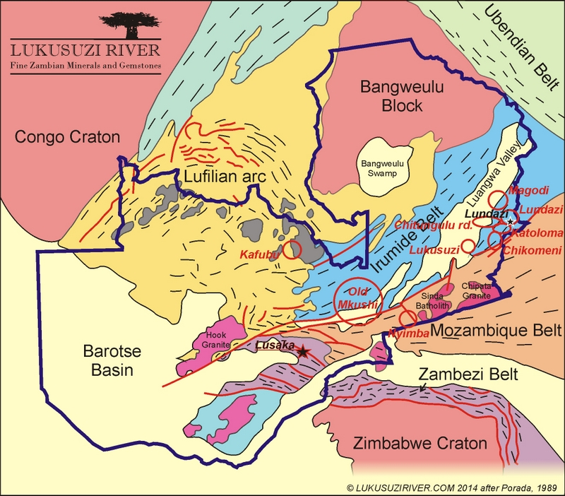 Zambia tectonic map of gem mines
